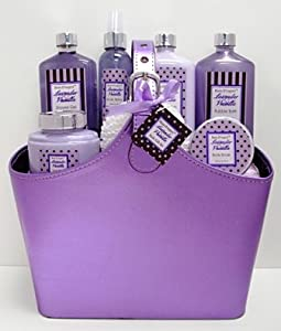 Bain D'esprit - Lavender Vanilla Spa Bath and Body Gift Basket Set - Purple Tote