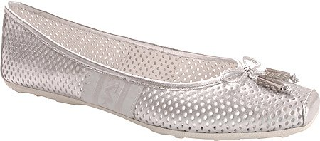 AK Anne Klein Women's Imprint Flats,Silver Leather,8.5 M