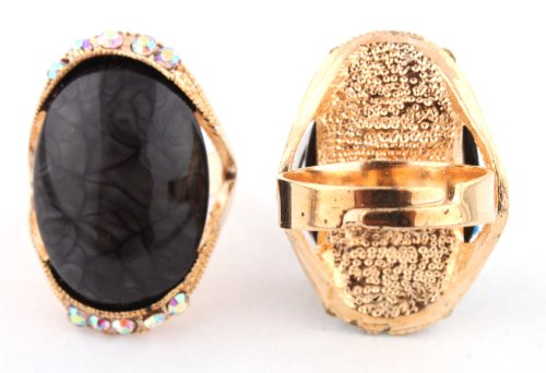 Ladies Gold with Black Oval Abstract Pattern Center with Surrounding Clear AB Stones Metal Adjustable Finger Ring