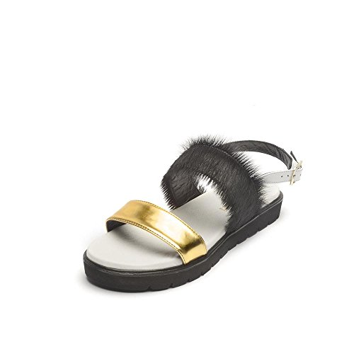Tipe e Tacchi / sandali donna colore oro/cavallino nero/nappa bianca