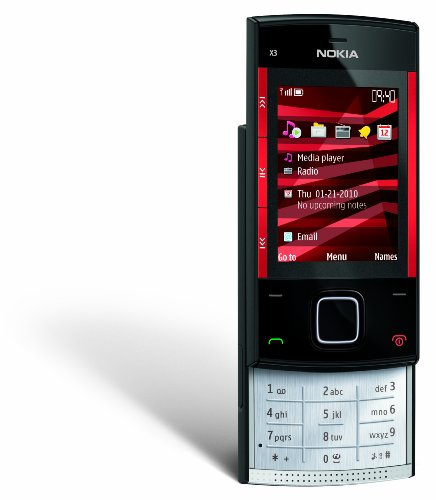 Nokia X3 Slider Unlocked GSM Phone with 3.5 MP Camera and 2 GB SD Slot--US Version with US Warranty (Red/ Black)