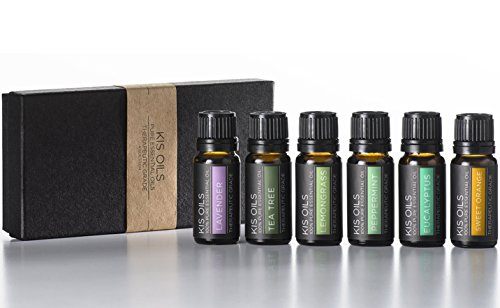 Aromatherapy Top 6 100% Pure Therapeutic Grade Basic Sampler Essential Oil Gift Set- 6/10 Ml (Lavender, Tea Tree, Eucalyptus, Lemongrass, Orange, Peppermint)
