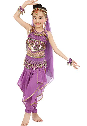 Astage Girls Belly Dance Sets Costumes All accessories Purple M(Fits 5-7 Years)