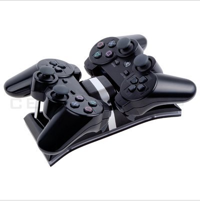 ATC Dual LED Charging Station for Sony PS3 Play Station 3 Controllers--charge two game grips at a time,Black