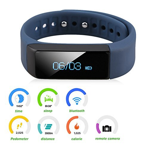 Smart Bracelet Fitness Tracker Smart Watch Sports Trend United i5 Plus Bluetooth For Smartphone Pedometer Tracking Calorie Health Sleep Monitor. (Blue)