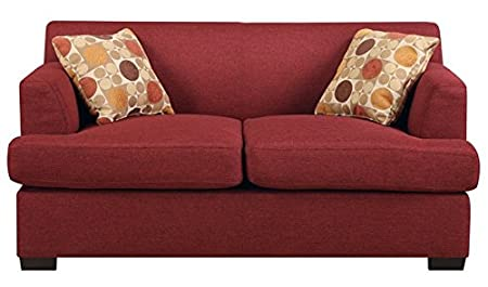 Modern Loveseat in Dark Red Finish by Poundex