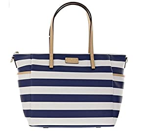 Kate Spade Wellesley Printed Stripes Adaira Baby Bag Daiper Bag, Blue and White stripes from Kate Spade New York