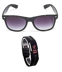MagJons Black Wayfarer Sunglasses With Digital Slim Watch