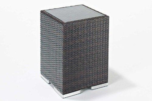 Rattan Side Table - Garden Furniture Accessory in Brown Wicker Rattan Weave