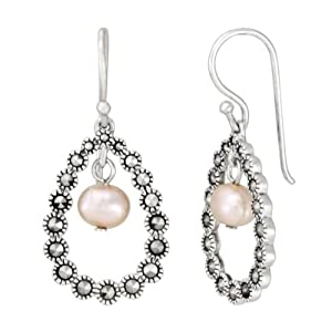 Sterling Silver Marcasite Open Teardrop Pink Pearl Earrings