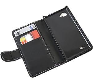 iTALKonline NERO Esecutivo Portafoglio Custodia Cover Coperchio con Carta di Credito / Porta Biglietti Per LG P880 Optimus 4x HD