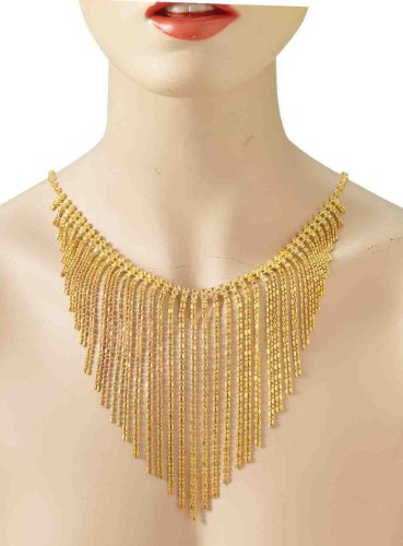 20's Dangling Gold Rhinestone Flapper Costume Necklace
