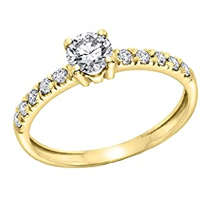 IGI Certified 14k yellow-gold Round Cut Diamond Engagement Ring (0.54 cttw, J Color, SI1 Clarity) - size 7.5