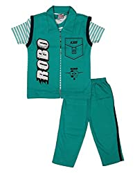 Little Buds Green Cotton Printed Top and pant Set Baby Wears