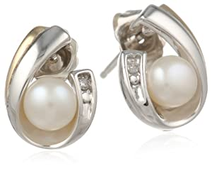 S&G Sterling Silver and 14k Yellow Gold 5mm Freshwater Cultured Pearl and Diamond Earrings (0.01cttw, I-J Color, I3 Clarity)