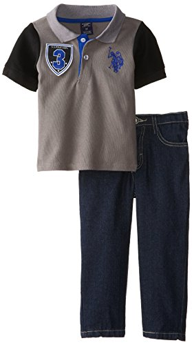 U.S. Polo Assn. Little Boys' Solid Polo With Contrast Color Sleeves And Denim Jean Set, Dark Grey, 6