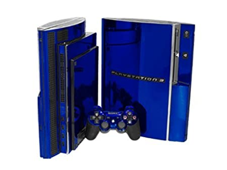 PlayStation 3 Skin (PS3) - NEW - BLUE CHROME MIRROR system skins faceplate decal mod