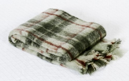 "Luxurious Mohair Throw Blanket Plaid. Natural South Africa Wool (51""X71"" (130X180Cm), Olive-Green) front-809683"
