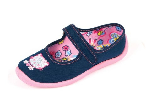 Nazo - Ballerine da bambina, in tela, motivo: Hello Kitty, colore: blu navy - 41 1/3 EU - Blu navy
