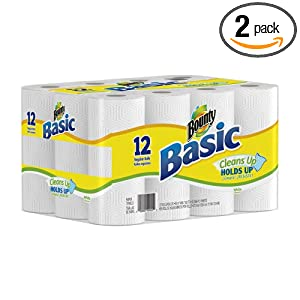 Bounty Basic Regular Roll, White, 12-Count (Pack of 2)