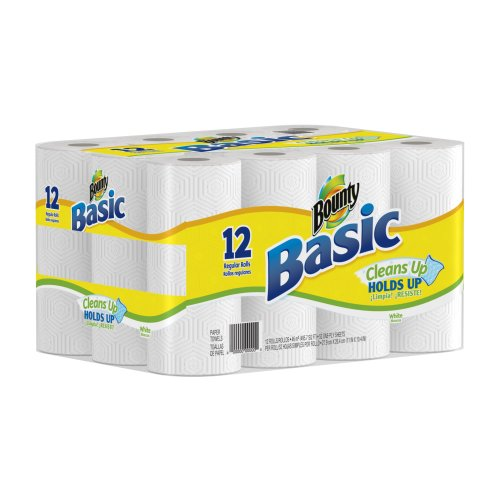 Bounty Basic Paper Towels 12 Regular Rolls (Pack of 2)