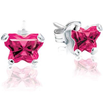 Jewelry Locker Bfly(tm) Sterling Silver and CZ July Birthstone Teen Earrings