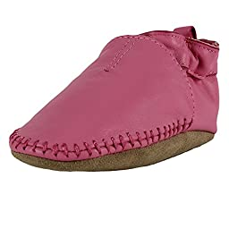 Robeez Premium Leather Classic Moccasin First Baby Shoes Pink, 18-24 Months