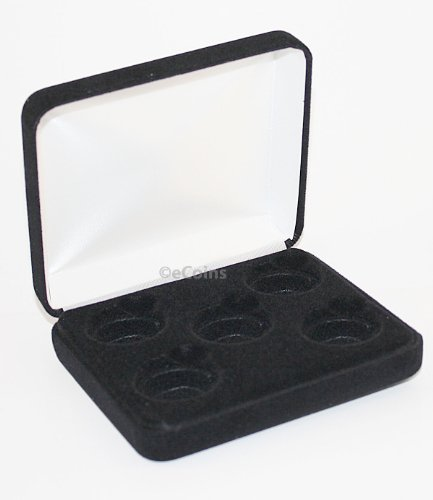 Black-Felt-COIN-DISPLAY-GIFT-METAL-PLUSH-BOX-holds-5-Quarters-or-Presidential-1