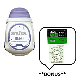 Snuza Hero (Halo) Mobile Baby Movement Monitor with **BONUS** Samples of Rockin Green Soap/Detergent and Tooth Tissues