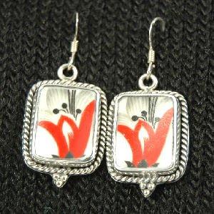 Hand Cut China Sterling Silver Earrings Orange Flowers