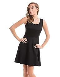 Prym Women's Cotton A Line Dress (1011509603_Black_Medium)