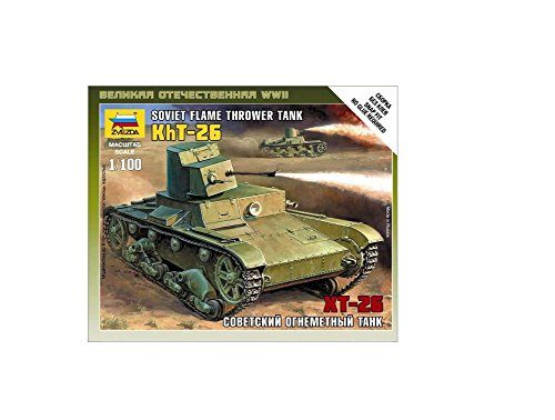 Zvezda Models Soviet Flamethrower Tank T-26, Scale 1/100 - 1