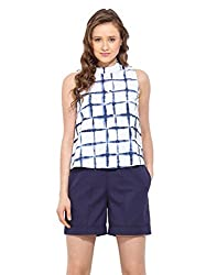Saiesta Women's Square Tie-Dye Printed High Neck Top