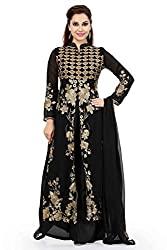 Black Georgette Embroidered Unstitched Dress Material