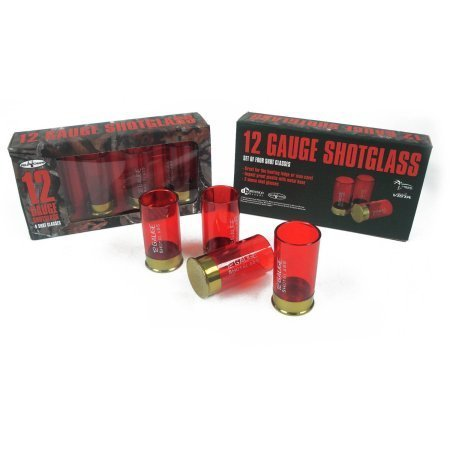 Dennco 4-Piece Set of Red Plastic Shot Glasses, 2 oz by Generic