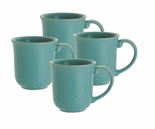 Paula Deen Signature Dinnerware Whitaker 4-Piece Mug Set, Aqua