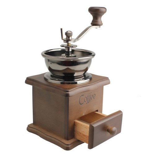 SODIAL(R) Mini Wooden Coffee Bean Spice Vintage Style hand grinder 2