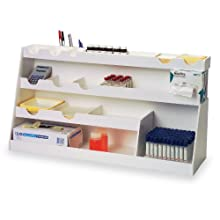 "TrippNT 50377 White PVC Plastic BenchBooster Workstation, 21 Compartments, Extra Large, 30"" Width x 16"" Height x 10"" Depth"