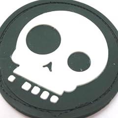 ミリタリー ラバーワッペン パッチ スカル 骸骨 ドクロ/モスグリーン 緑/裏面マジックテープ ベルクロ/サバイバルゲーム