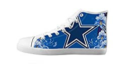 Renben Kids Boy\'s NFL Dallas Cowboys Canvas Shoes Lace-up High-top Sneakers Fashion Running Shoes