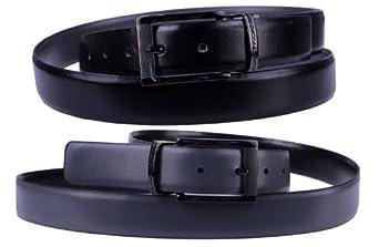 Stacy Adams 6-186 Twist Reversible Mens Adjustable Belt with Laser Engraved Detail, Gun Metal Finish Buckle (34, Black / Gray)