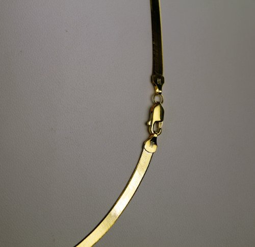 """Clevereve Luxury Series Made In Italy 3.80Mm 14K Yellow Gold 7.50 Grams Solid Flexible Herringbone Chain Necklace 18.0"""""""