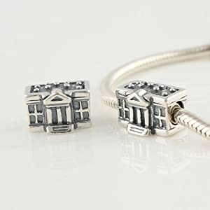 The White House Charm 925 Sterling Silver Charm Beads for Pandora, Biagi, Chamilia, Troll and More Bracelets