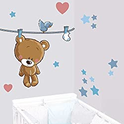 JUJU & COMPAGNIE - Teddy der Bär in Braun Teddybären Wandstickers - Full Set von Kinder Wandaufkleber - Babyzimmer Wandtattoos - Maße 40 x 120 cm
