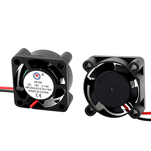 2 Pcs 2510S DC 12V 0.1A Mini Brushless Fan Cooler Cooling 25mmx10mm (Dc Fan 12v compare prices)