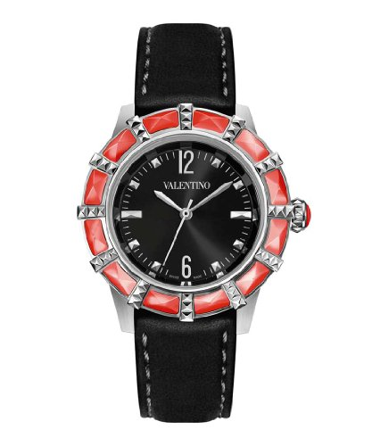 Valentino V54SBQ99709 SB09 Women's Eden black calfskin band watch.