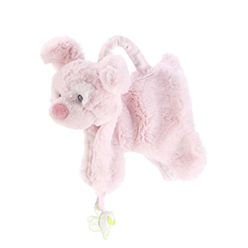 DEMDACO Plush Pacifier Holder Blankie, Pink Dog