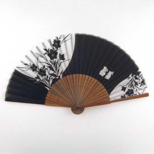 Japanese Silk Handheld Fan, Black With White Bunnies Hf158