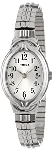 Timex Women's T2N9819J Elevated Classics Oval Silver-Tone Expansion Band Dress Watch