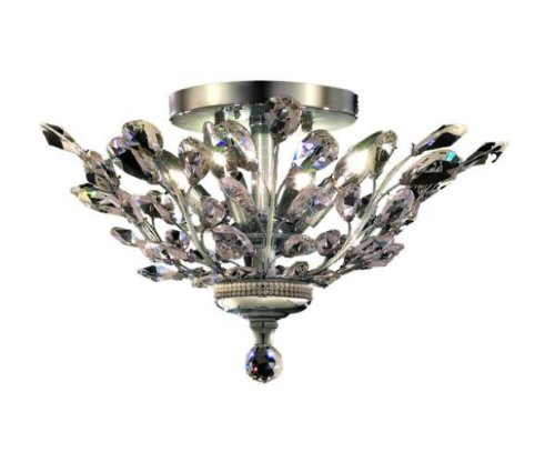 Elegant Lighting 2011F20C/Rc Orchid 10-Inch High 4-Light Flush Mount, Chrome Finish With Crystal (Clear) Royal Cut Rc Crystal front-644232